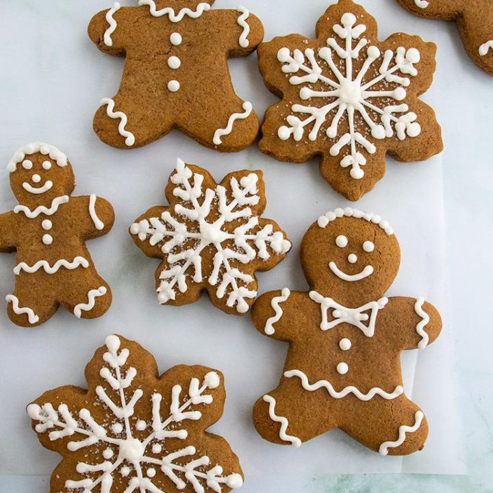 Gingerbread cookies with royal icing decorations
